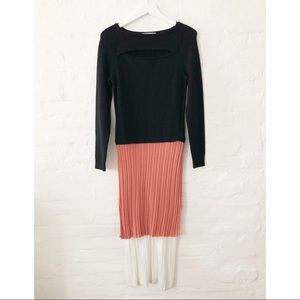 BN -Derek Lam multi knit dress w/ slit neckline